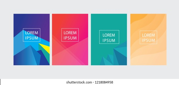 set of cover, flyer, brochure template with colorful abstract backgroun