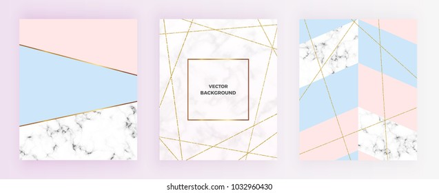 Set cover geometric designs with gold glitter line, cream blue, pastel pink colors and marble texture background. Template for invitation, card, design, banner, wedding, baby shower