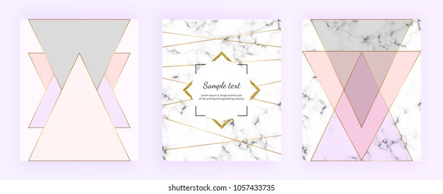 Set cover geometric designs with marble texture, gold lines, triangles, pastel pink, grey colors background. Trendy template for invitation, card, banner, wedding, placard, party, flyer, brochure
