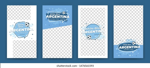Set of cover layouts, geometric templates with space on photo and with icon football, soccer ball. Vector Illustration. Argentina motifs.