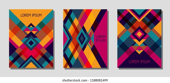 Set of cover page layouts, vector templates geometric design with triangles and stripes. Festive brazilian motifs. Bauhaus pattern vector covers design. Modern rhombus stripe triangle shapes.