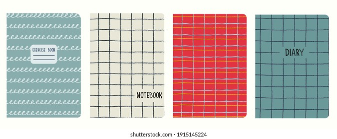 Set of cover page templates based on grid seamless patterns, spiral lines pattern. Plaid backgrounds for school notebooks, diaries. Headers isolated and replaceable