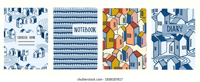 Set of cover page vector templates based on seamless patterns with abstract cityscapes and waves. Seaside town concept. Perfect for exercise books, notebooks, diaries, presentations