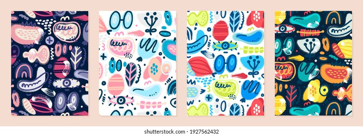 Set of cover templates with patterns of different abstract shapes. Colorful artistic backgrounds with textured stains and spots. Designs is for notebook, planner, diary, poster, card, book. Vector