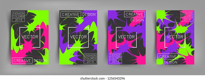 Set of covers with bright paints, pattern and splash. Minimal, light, bright, contrast and explosion design with trend colors of 2019. Coral, purple and green colors. Eps10 vector