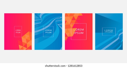 Set of covers, brochure, flyer template design with abstract background