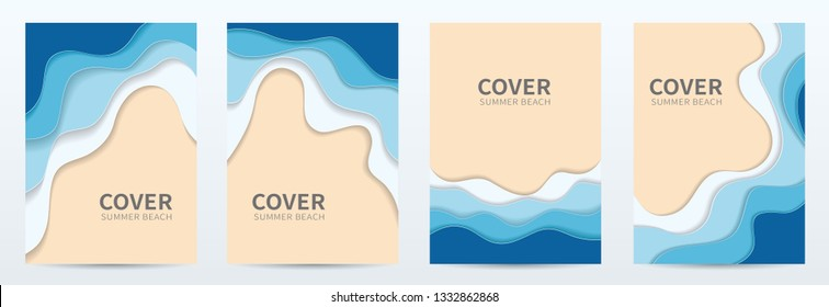 Set of covers, brochure, flyer template  design with beach origami