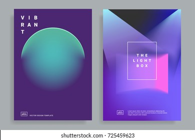 Set of covers design templates with vibrant gradient shapes. Trendy modern design. Applicable for placards, flyers, presentations, brochures, posters, covers and banners. Vector illustrations. Eps10