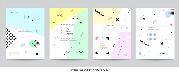 Set of covers with minimal design and geometric forms. Abstract geometric vector objects. Modern Decoration shapes and figures for web, print, patterns,branding