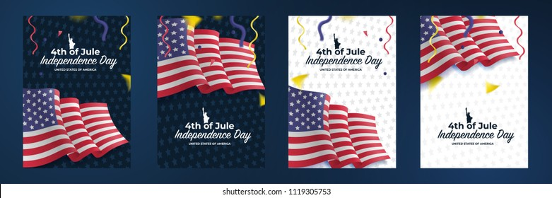 A set of covers and postcards for the US Independence Day. United States waving flag. Fourth of July celebrate. 4th of Jule. Template for website banner, poster and advertisement. Vector illustration