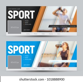 set of covers for social networks with diagonal soaring lines and a place for photos. Web banner template with blue and yellow elements. A sample for sports nutrition. Vector illustration