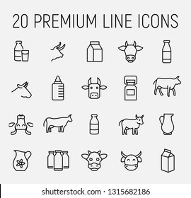 Set of cow and milk icons in modern thin line style. High quality black outline cow symbols for web site design and mobile apps. Simple milk pictograms on a white background