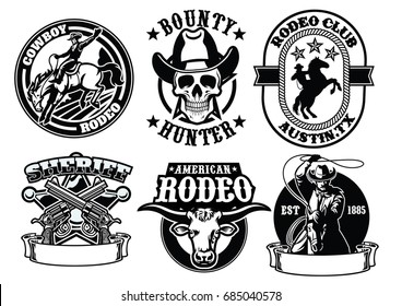 set of cowboy badge