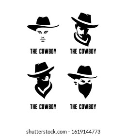 set of cowboy bandit head logo icon design