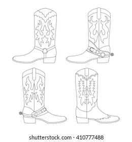 Set of cowboy boots. Vector illustration.