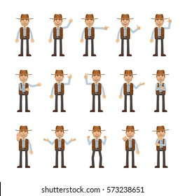 Set of cowboy characters showing different hand gestures. Cheerful cowboy showing thumb up, pointing, greeting, victory, stop sign and other hand gestures. Simple vector illustration