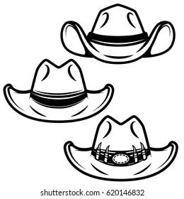 Set of cowboy hats isolated on white background. Design element for logo, label, emblem, sign. Vector illustration