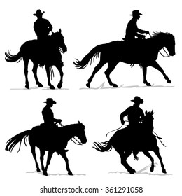 Set of cowboy and horse silhouettes - Western riding discipline Reining