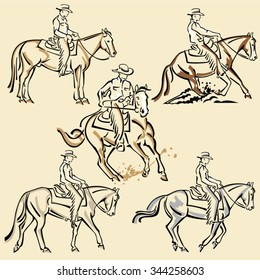Set of Cowboy rider and Western horse - Reining discipline - Western Riding Competition