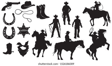 Set of cowboys .Collection of silhouettes of a man on a horse with lasso. Set of themed clothes and accessories for a wild western.Vector illustration on a white background.