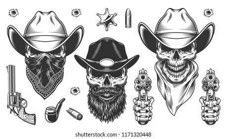 Set of cowboys. Concept with skulls. Vector illustraiton