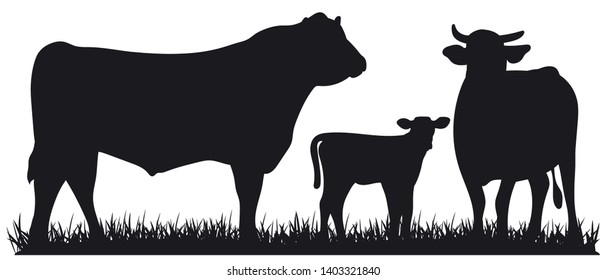 Set of cows. Black silhouette bull, cow and calf isolated on white. Hand drawn vector illustration.