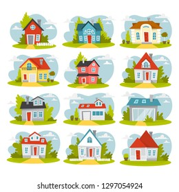 Set of cozy houses. City cottage buildings. Collection of apartment. Town architecture concept. Facade of apartment. Isolated flat vector illustration