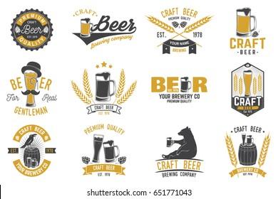 Set of Craft Beer badges with hops, raven and bear. Vector illustration. Vintage design for bar, pub and restaurant business. Coaster for beer. Craft beer badges in vintage style. Oktoberfest Overlay