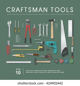 Set of craftsman tools, vector isolated construction tools.