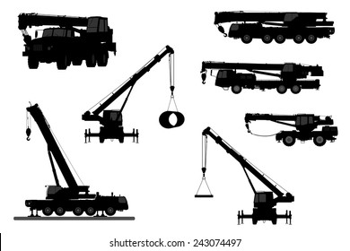 Set Crane Silhouette on a white background. Vector illustration.