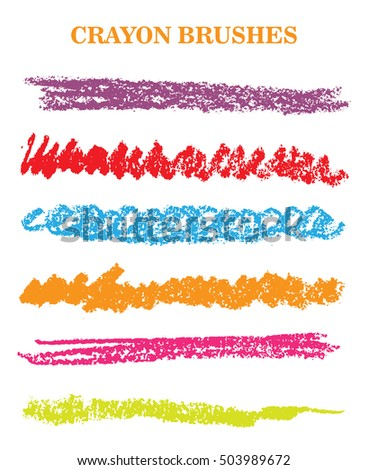 set crayon brush strokes vector hand drawn stock vector royalty