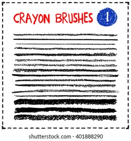 Set of crayon brushes. Grunge lines with texture. Brush strokes. Design lements for scrapbooking, baby shower or wedding invitation, birthday or greeting card, children book embellishment