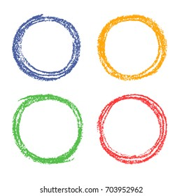 Set of crayon colorful hand drawing round design elements with multicolor pastel chalks texture. Wax crayon or pencil red, green, blue, yellow circle frames background. Vector.