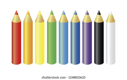 Set of crayon colors vector. Crayon colors isolated on white background
