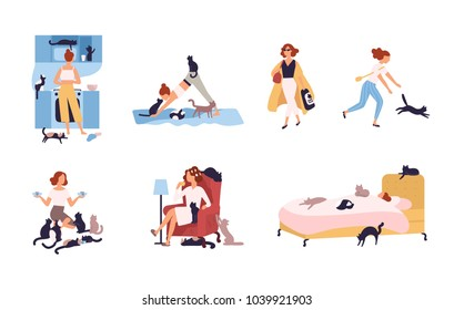 Set of crazy cat lady performing her daily activities being surrounded by pets - sleeping, doing yoga, drinking coffee. Funny cartoon characters isolated on white background. Vector illustration.