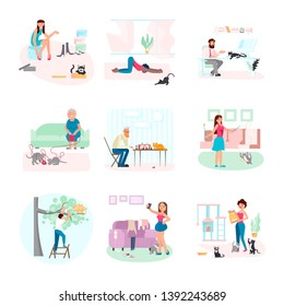 Set of crazy cat people feeding, caring, doing yoga and playing with their pets. Funny cartoon characters adorable kitties and their owners isolated on white background. Flat Art Vector illustration