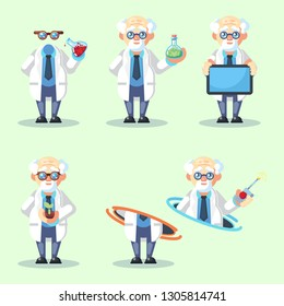 Set of Crazy old scientist is conducting a scientific experiment teleporting Growing plants Invisible messege text board flask. Funny game character. Flat cartoon vector illustration.
