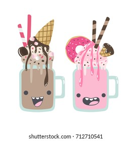 Set of crazy, smiling vector milkshakes illustrations. Non-alcoholic beverages. Sweet, chocolate, strawberry drinks