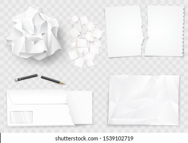 Set creased paper sheets and pen