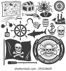 Set to create a logo of a pirate tattoos. Marine emblem. Skull, map, chest, octopus, compass, tricorn,  pistol, ship, shark, anchor, hook, keg, bottle.