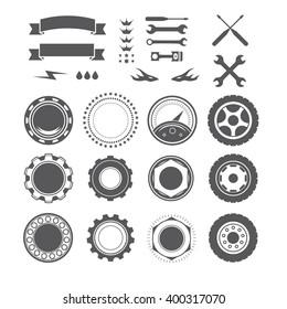 Set to create a vintage logo, badge, emblem or logotype element for mechanic, garage, car repair, auto service