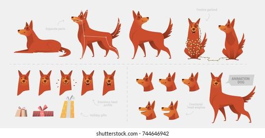 Set per la creazione di un cane animazione di emozioni. Diverse posture del corpo separatamente zampe, muso, coda. Vista frontale, vista laterale. Elementi per l'animazione del personaggio del cane.