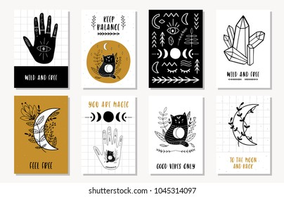Set of creative 8 journaling cards with moon, quartz, crystal, hand, magic, eye, cat, plant. Ethnic Posters set. Vector illustration.