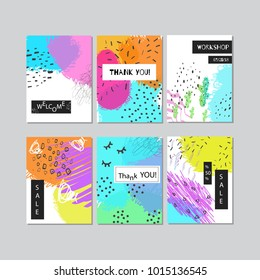 Set of creative abstract art cards. Cover design. Hand Drawn textures. for banner, poster, card, invitation, placard, brochure.