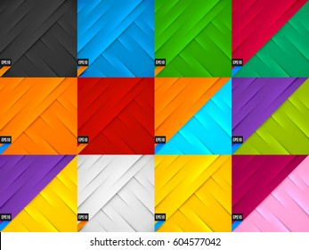 Set of Creative Abstract Design Decorated Backgrounds with Shadows and Highlights. Colorful Layered Abstarct Textures