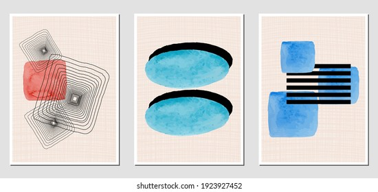 Set of creative abstract illustractions with watercolor blurs and black lines. Can be used for any kind of a design:wall decoration, postcard, brochure, fashion print, posters. Vector template.