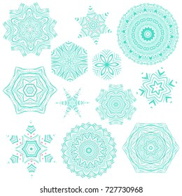 Set of creative and artistic blue and pink mandalas isolated on white background. Collection of mehendi tattoo designs. Beautiful and creative floral ornaments. Abstract decorative snowflakes.