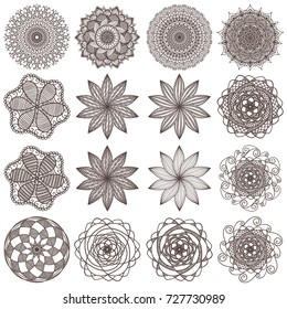 Set of creative and artistic mandalas isolated on white background. Collection of mehendi tattoo designs. Beautiful and creative abstract floral ornaments. Vector EPS10 file.