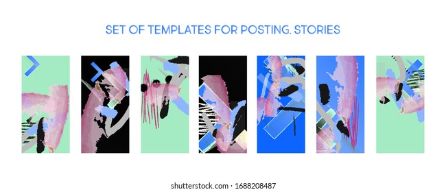 Set creative backgrounds for social media templates. Pastel art colors