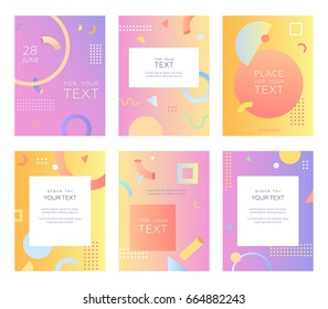 Set of creative bright postcards. Gradients, art texture. Place for text. Trendy style design. Artistic poster. Design for banner, cover, invitation, placard, brochure, flyer. Vector, isolated